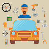 Car service concept with flat icons and mechanic. Vector illustr Stock Images