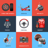 Car Service Concept Flat Icons Set Royalty Free Stock Photo