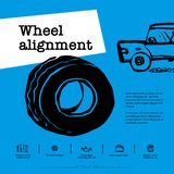 Car service concept. Web banner. Wheel alignment, similarity collapse, tire service, car repair etc. Doodle ink style. Vector illustration stock illustration