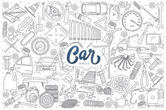 Car service details doodle set with lettering Stock Photo