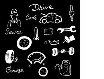 Car service drawing icons set blackboard Royalty Free Stock Image