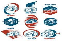 Car Service Emblem Set. Car shop and service or automobile workshop emblem set. Design elements for your company. Vector illustration Royalty Free Stock Photos