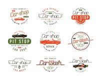 Car service emblems. Car wash and car shop labels. Color print on white background stock illustration