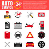 Car service flat icon set. Auto mechanic service flat icons of maintenance car repair and working. Auto mechanic design concept se Royalty Free Stock Photo