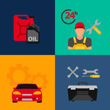 Car service flat icon set. Auto mechanic service flat icons of maintenance car repair and working.  Stock Images