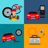 Car service flat icon set. Auto mechanic service flat icons of maintenance car repair and working.  Royalty Free Stock Photo