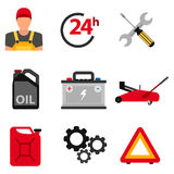 Car service flat icon set. Auto mechanic service flat icons of maintenance car repair and working. Vector illustration Stock Photos