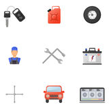 Car Service Flat Icons Set Royalty Free Stock Photography