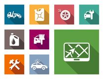 Car service flat icons set Royalty Free Stock Photos