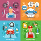 Car Service 4 Flat Icons Square Banner Stock Images