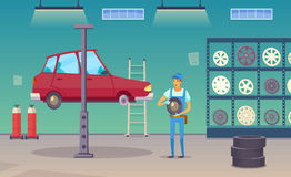 Car Service Garage Cartoon Composition Poster Stock Image