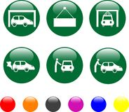 Car service green icon shiny button Stock Photo