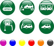 Car service green icon shiny button Royalty Free Stock Photo