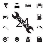 Car service, 24 hours icon. Set of car repair icons. Signs, outline eco collection, simple icons for websites, web design, mobile. App, info graphics on white Royalty Free Stock Photos