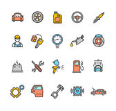 Car Service Icon Color Set. Vector Royalty Free Stock Images