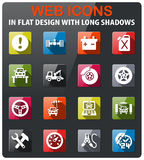 Car service icon set. Car service icons set in flat design with long shadow Stock Photo