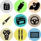 Car parts icons color Stock Photography