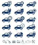 Car service icons blue set Royalty Free Stock Photography