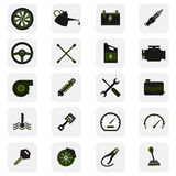 Car service icons. Dark style icons collection Stock Images