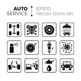 Car service icons. Car service flat icons set. Isolated on white background. Typical autoservice pictograms. Icons and signs for business Stock Images