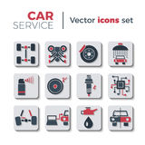 Car service icons. Car service flat icons set. Isolated on white background. Typical autoservice pictograms. Icons and signs for business. Vector illustration in Stock Image