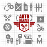 Car service icons and labels set Stock Photography