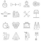 Car Service Icons Line. Set with auto workshop symbols  vector illustration Royalty Free Stock Photo