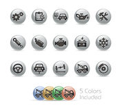 Car Service Icons // Metal Round Series Stock Images