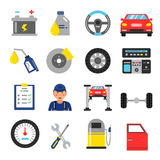 Car service icons set. Different parts of automobile. Vector illustrations in flat style Royalty Free Stock Photo