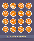 Car service icons on stickers Royalty Free Stock Photos