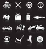 Car service icons. White on black background with reflections Stock Image