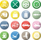Car service icons. White in color glossy circles Stock Image