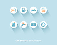 Car service infographic with flat icons set Royalty Free Stock Photo