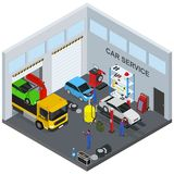 Car Service Interior with Furniture and Equipment Isometric View. Vector Royalty Free Stock Images