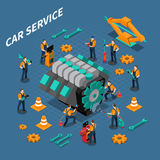 Car Service Isometric Composition royalty free illustration