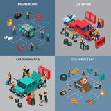 Car Service 4 Isometric Icons Square Royalty Free Stock Photography