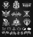 Car service Labels, Emblems and Logos chalk drawing stock illustration