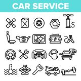 Car Service Linear Vector Icons Set Thin Pictogram stock illustration