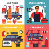 Car service maintenance. Auto transport diagnostics, care and mechanic repair work. Vector set Royalty Free Stock Image