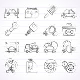 Car service maintenance icons. Vector icon set Royalty Free Stock Images