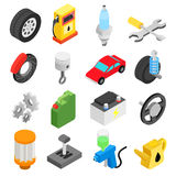 Car service maintenance isometric icons Royalty Free Stock Photos