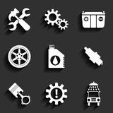 Car service maintenance vector flat icon set. Royalty Free Stock Images