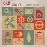 Car service maintenance vector flat retro icons. Royalty Free Stock Photos