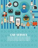 Car service online call flat design with wrecker car and mechanic.lorem ipsum is simply text [Converted. Car service online call flat design with wrecker and vector illustration