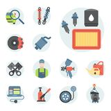 Car service parts flat vector illustration auto mechanic repair of machines and automobile equipment. Car service parts flat vector illustration. Auto mechanic Royalty Free Stock Image
