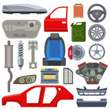Car service parts mechanic repair flat vector illustration Royalty Free Stock Photo