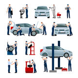 Car Service People Icons Set Stock Image