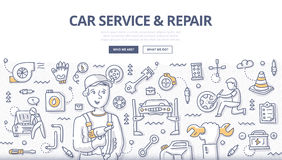 Car Service & Repair Doodle Concept. Doodle  illustration of smiling mechanic working in auto repair. Concept of car and tire service, diagnostics and tuning for Royalty Free Stock Photography