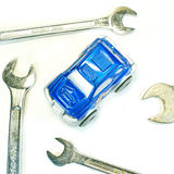 Car Service Repair and Maintenance. Blue Car Service Repair and Maintenance Stock Photography