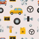 Car service repair parts vector seamless pattern background vehicle and automobile equipment. Motor vector illustration and technician transportation seamless Royalty Free Stock Image